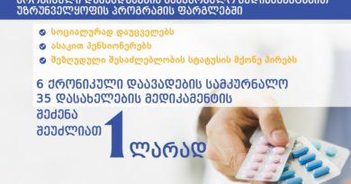 6 ქრონიკული დაავადების სამკურნალო 35 დასახელების მედიკამენტის შეძენა 1 ლარად – მთავრობის ინიციატივა